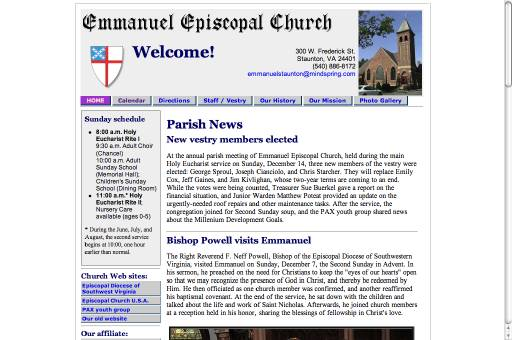 Emmanuel Episcopal Church webpage