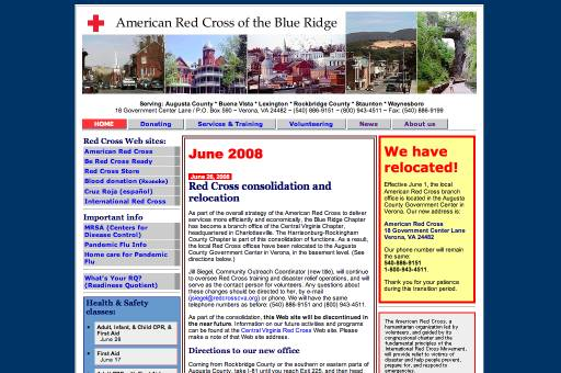 red cross blue ridge Web site