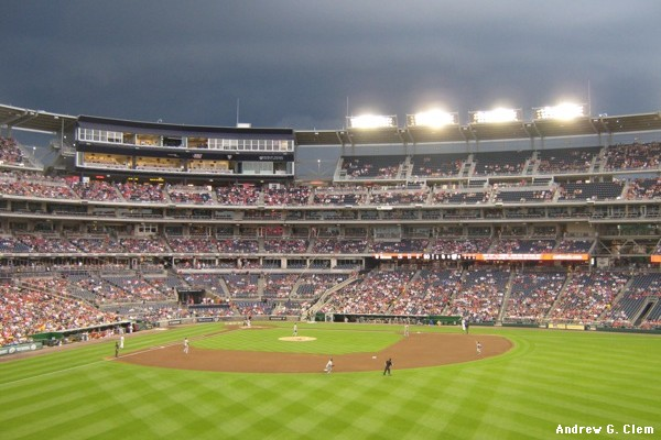 Nationals Park, dark clouds