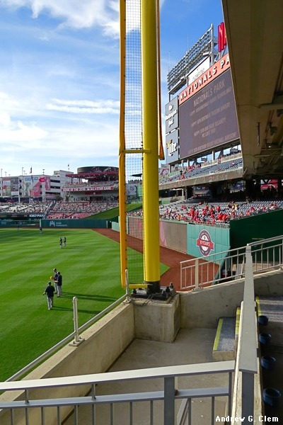 Nationals Park RF foul pole, scoreboard
