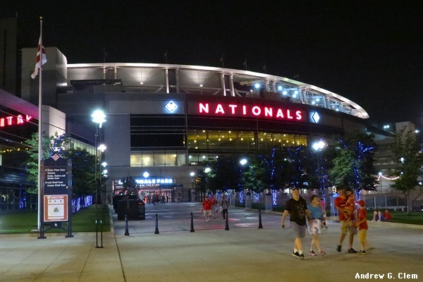 Southwest entrance to Nationals Park, night