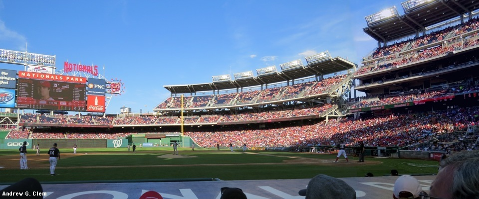 Nationals Park from 3rd base dugout pan