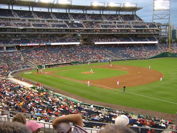 Nationals Park infield from first base side