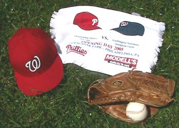 Nationals hat, towel, glove
