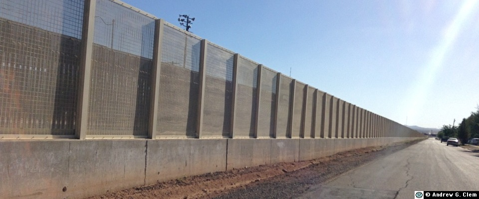 U.S. - Mexican border fence in Douglas pan