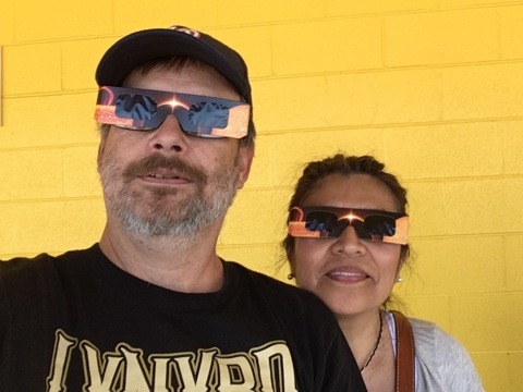 Andrew, Jacqueline eclipse glasses