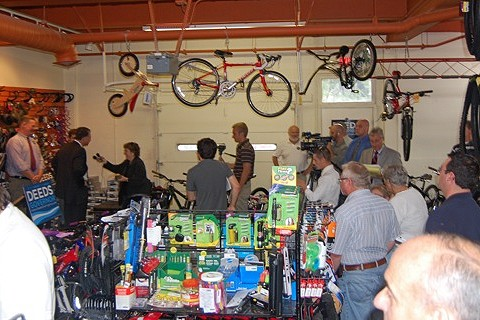 Creigh Deeds in bike shop