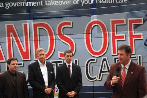 Marchi, Sayre, Cuccinelli, Allen at health care rally