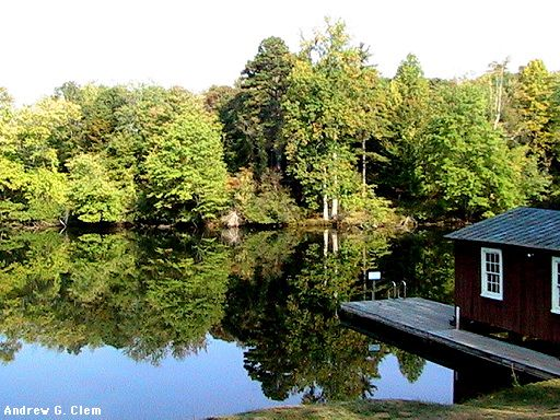 Sweet Briar pond, boat house